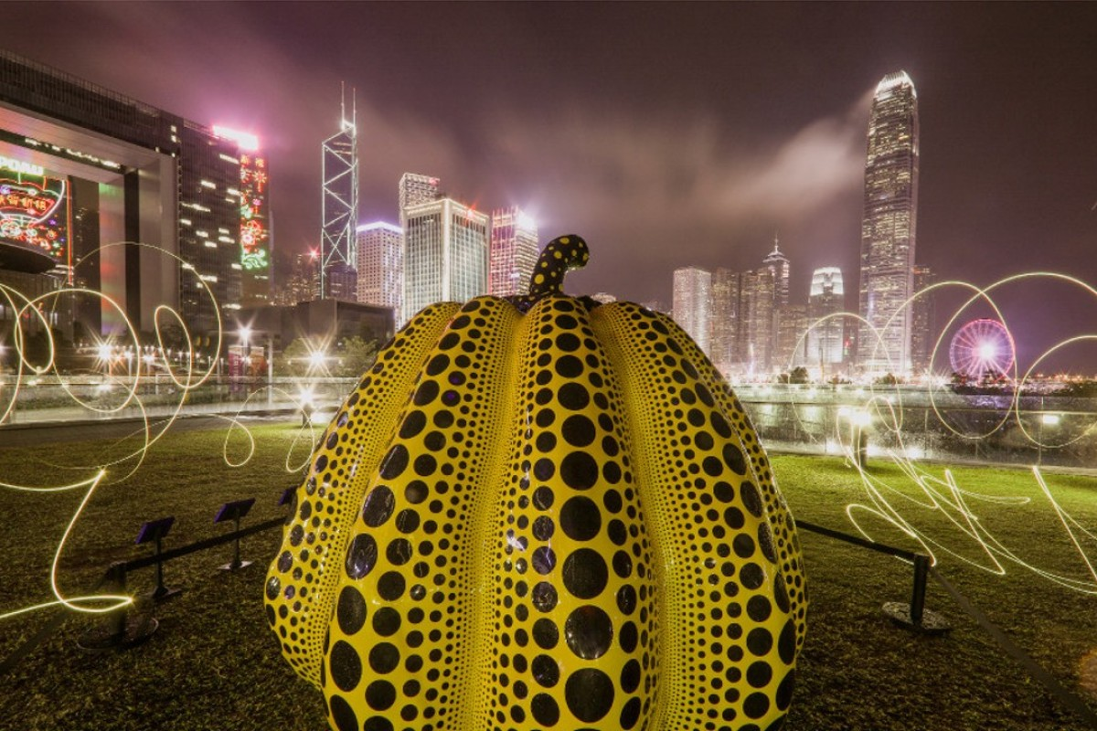 'Pumpkin: big', by artist Yayoi Kusama, exhibited at the Harbour Arts Sculpture Park at the Central and Western District Promenade and Wan Chai. Photo: Sam Tsang
