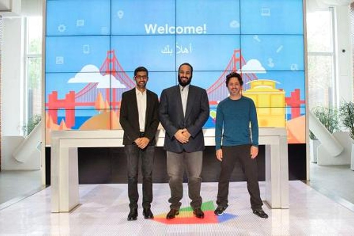 Google CEO Sundar Pichai (left), Saudi Crown Prince Mohammed bin Salman (centre), and Google co-founder Sergey Brin during the prince's visit to Silicon Valley, in the United States, last week. Photo: CNBC