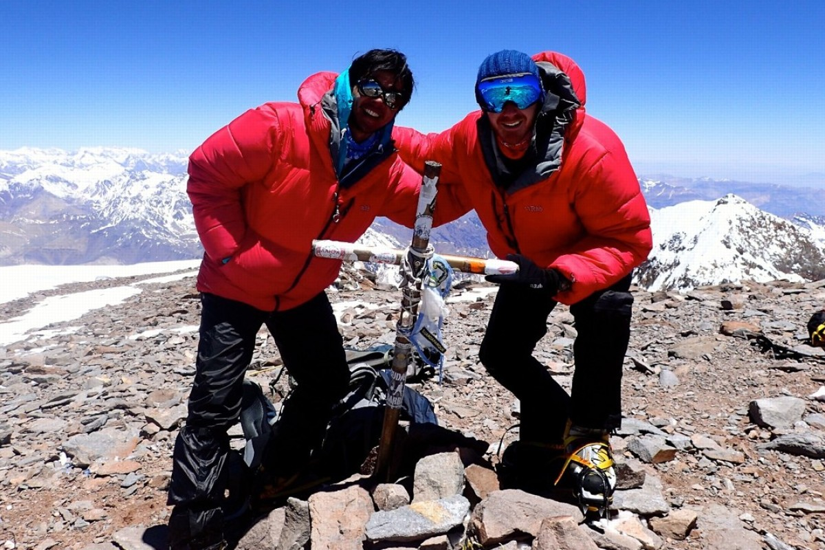 Lawrence Wong [left] and his climbing buddy Christopher Twiss on the summit of Aconcagua. Photo: Handout