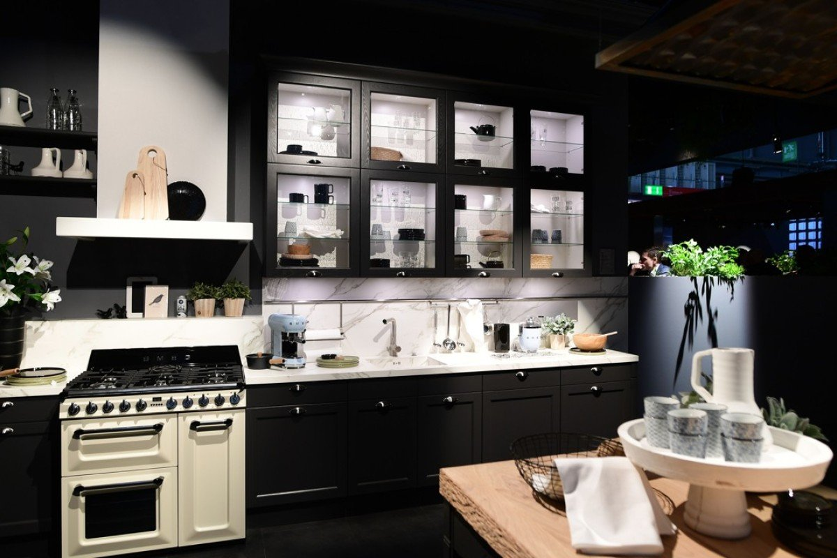 A kitchen design at the Haecker stand during the six-day Salone del Mobile, the world's largest furniture fair in Milan. Photo: AFP