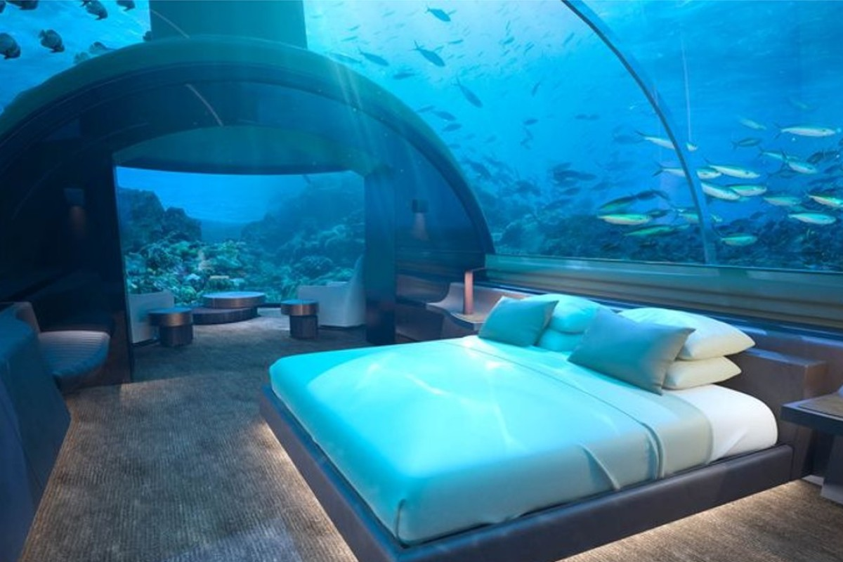 It costs US$50,000 to stay the night in the Muraka's underwater villa at Conrad Maldives Rangali Island in the Maldives. Photo: Conrad Maldives Rangali Island