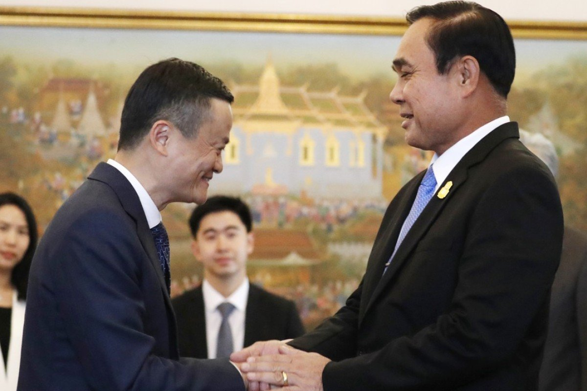 Jack Ma, founder of Chinese e-commerce giant Alibaba, with Thailand's Prime Minister Prayuth Chan-ocha in Bangkok. Photo: AP