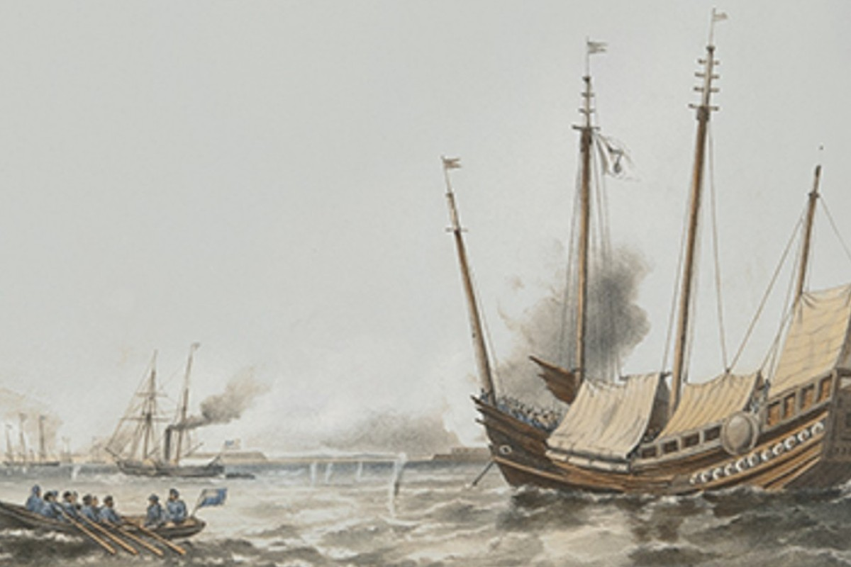 The Toey-Wan during the Second Battle of Taku Forts at the mouth of the Peiho River on June 25, 1859, in a lithograph by T.G. Dutton. Picture: courtesy of George W. H. Cautherley