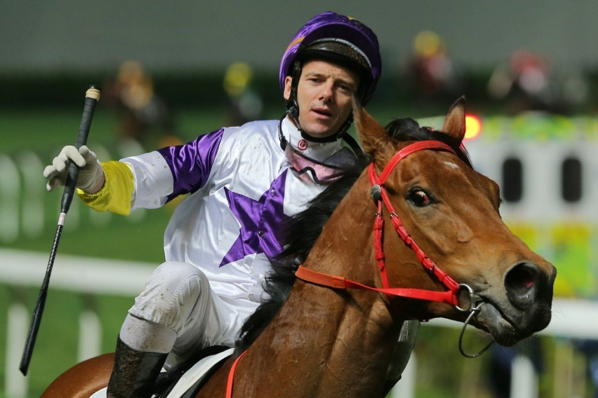 Brett Prebble celebrates Money Boy's win at Happy Valley in March. Photo: Kenneth Chan