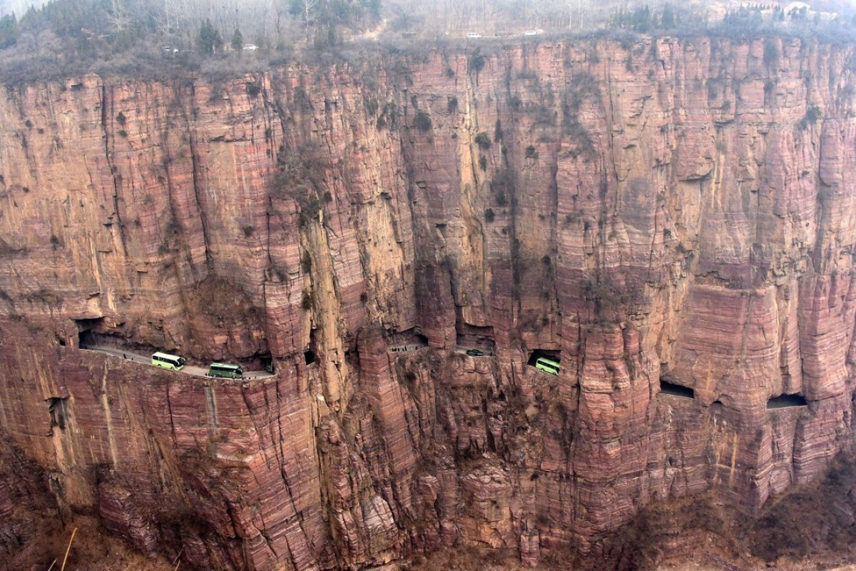 The road to Guoliang in Henan province, China, is built into the cliff. Picture: Alamy