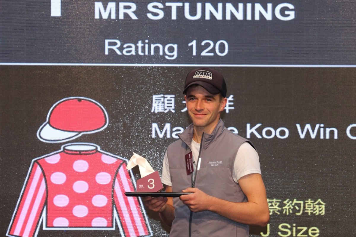 Sam Clipperton draws barrier three for Mr Stunning in the Champion's Sprint Prize. Photos: Kenneth Chan