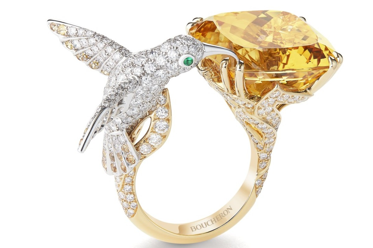 Boucheron. The shimmering white and yellow gold hummingbird ring, set with a yellow beryl, emeralds, sapphires and diamonds, adds some glamour to your day. Price on request