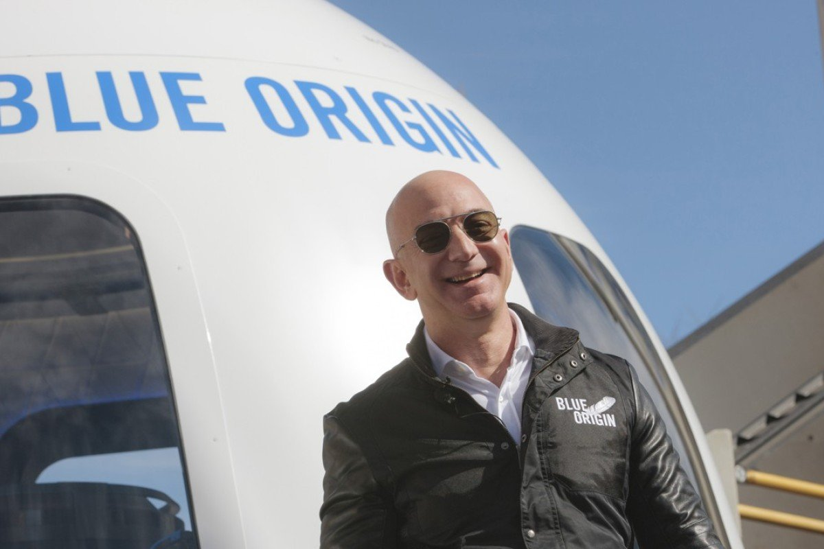 Much of the wealth of Jeff Bezos – CEO of Amazon and founder of spaceflight services company Blue Origin – is derived from the value of his Amazon shares. Photo: Bloomberg/ Matthew Staver.