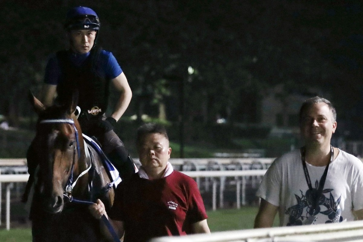 Southern Legend and Caspar Fownes at trackwork in Singapore on Friday morning. Photos: Kenneth Chan