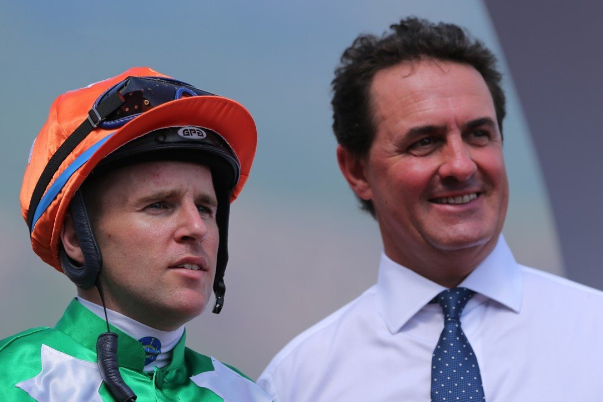 Jockey Tommy Berry (left) and trainer Michael Freedman. Photos: Kenneth Chan