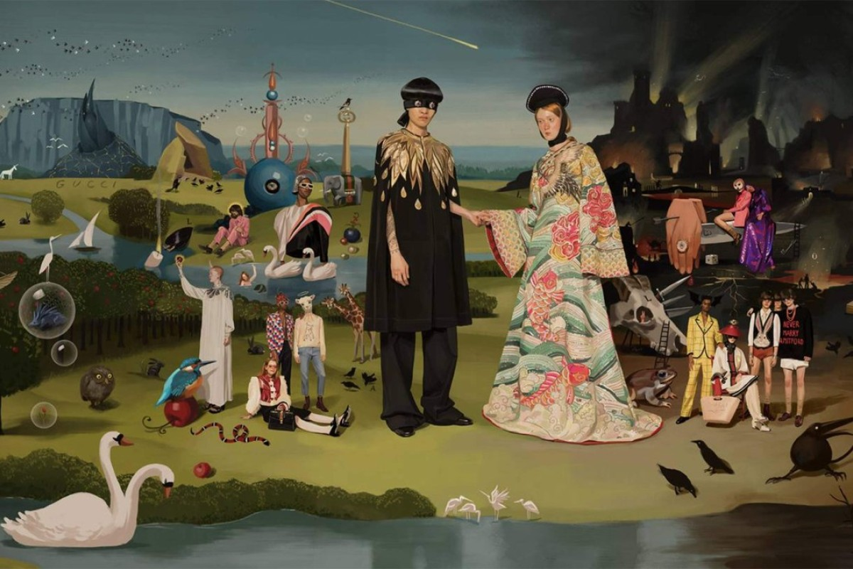 Ignasi Monreal's re-imagining of 'The Garden of Earthly Delights' by Heironymus Bosch (1490-1510), which was created for Gucci as part of the Italian luxury brand's spring/summer 2018 campaign, 'Utopian Fantasy'.