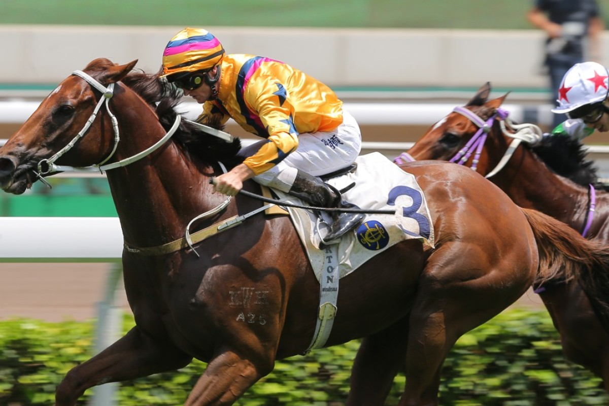 Zac Purton drives Winner's Way to victory in the Group Three Sha Tin Vase. Photos: Kenneth Chan