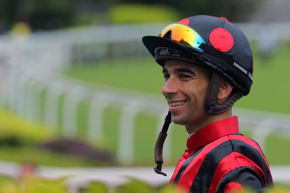 Joao Moreira after winning on Marzouq on June 24. Photos: Kenneth Chan.