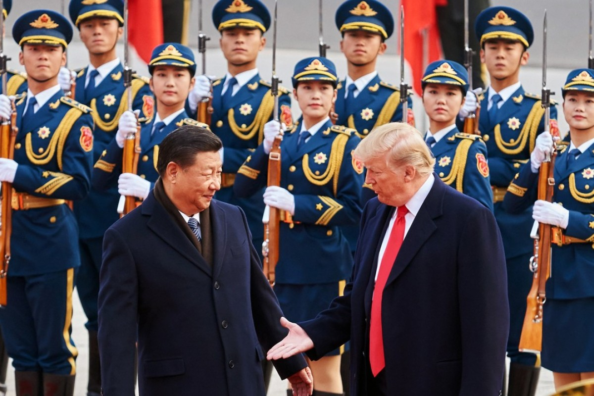 China's President Xi Jinping and US President Donald Trump outside the Great Hall of the People in Beijing. Photo: TNS