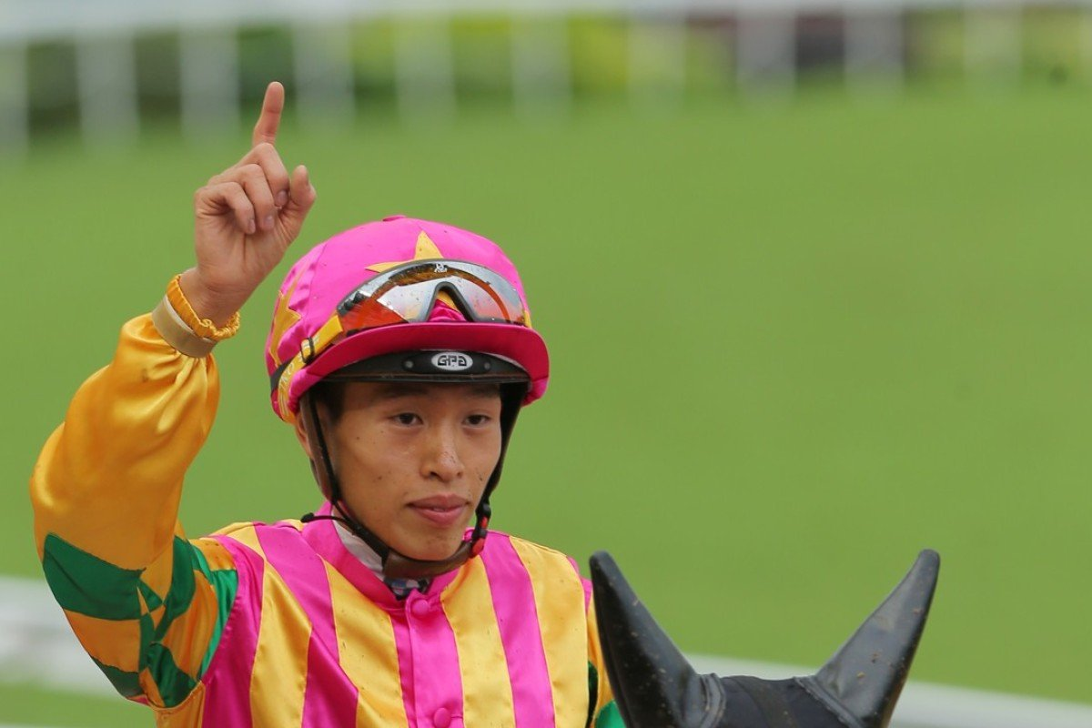 Vincent Ho Chak-yiu after a victory at Sha Tin. Photo: Kenneth Chan