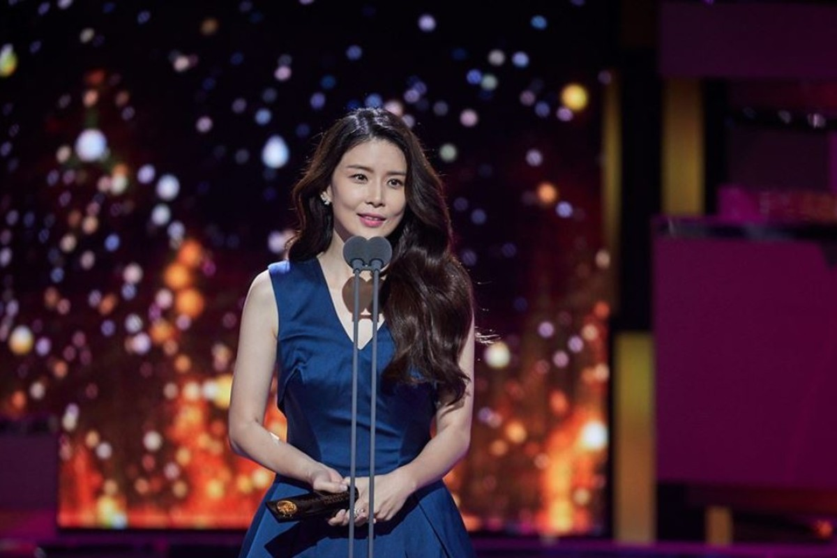South Korean actress Lee Bo-young gives a speech after receiving the best actress award for her role in the television series, 'Mother', at Monday's Seoul International Drama Awards ceremony. Photo: Seoul International Drama Awards