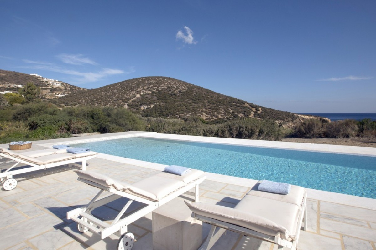 Villa Jasmine's pool, to the back of the private property, offers views across the Aegean Sea.