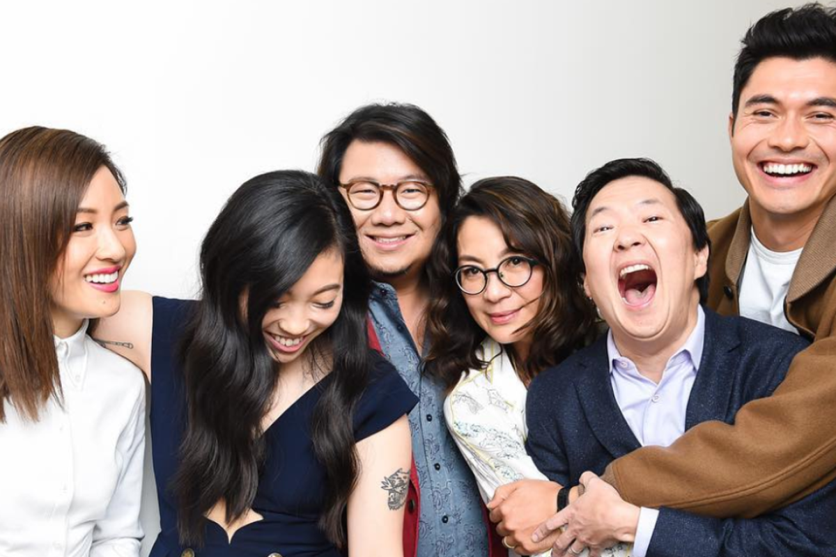 The happy cast of 'Crazy Rich Asians': (from left) Constance Wu, Awkwafina, author Kevin Kwan, Michelle Yeoh, Ken Jeong and Henry Golding. Photo: Griff Lipson's Instagram
