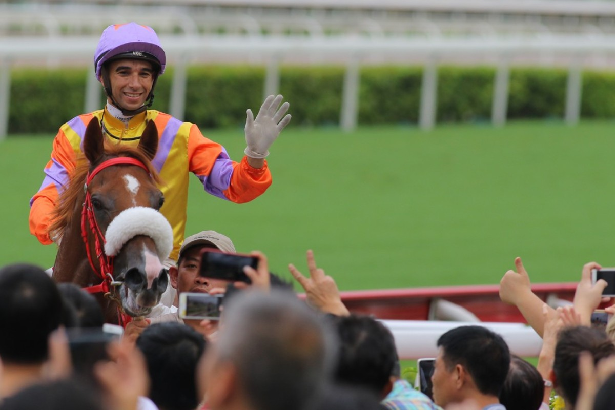 Joao Moreira farewells the fans at Sha Tin in July. Photos: Kenneth Chan