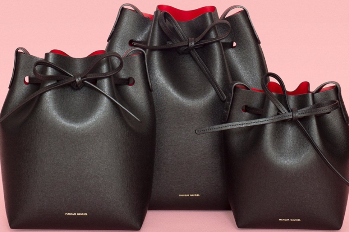 With minimal branding and an accessible price, New York-based label Mansur Gavriel's bucket bags have became the fashionista's preferred purse. Picture: Twitter / @MANSURGAVRIEL