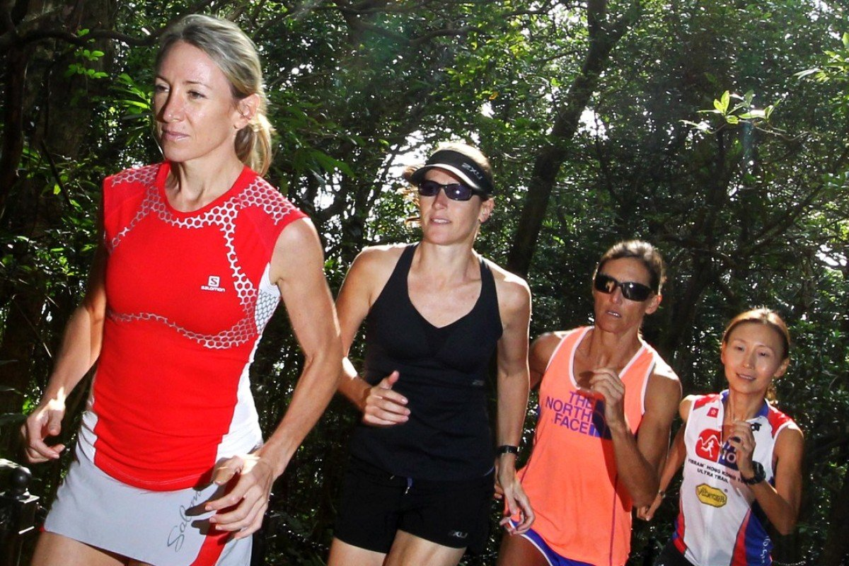 Claire Price leads her Trailwalker team for 2012 with fellow runners Jeanette Holmes-Thompson, Kami Semick and Janet Ng Shiaw-hwa. Photo: May Tse