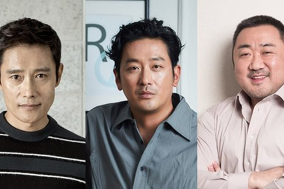 (From left) South Korean actors Lee Byung-hun, Ha Jung-woo and Ma Dong-seok will star in the science-fiction film 'Mount Paektu', which will start shooting next year. Photo: Yonhap