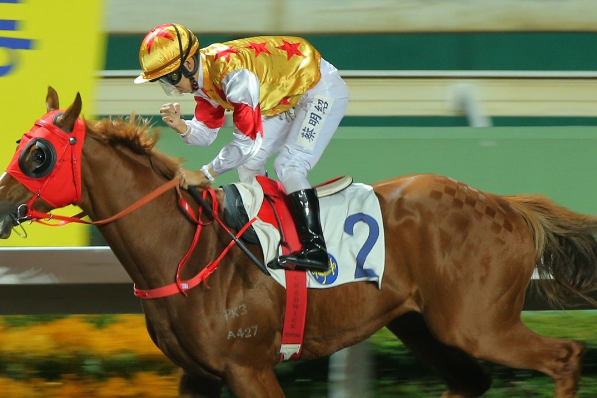 Matthew Chadwick pumps his fist after winning aboard Golden Effort at Sha Tin on Wednesday night. Photos: Kenneth Chan