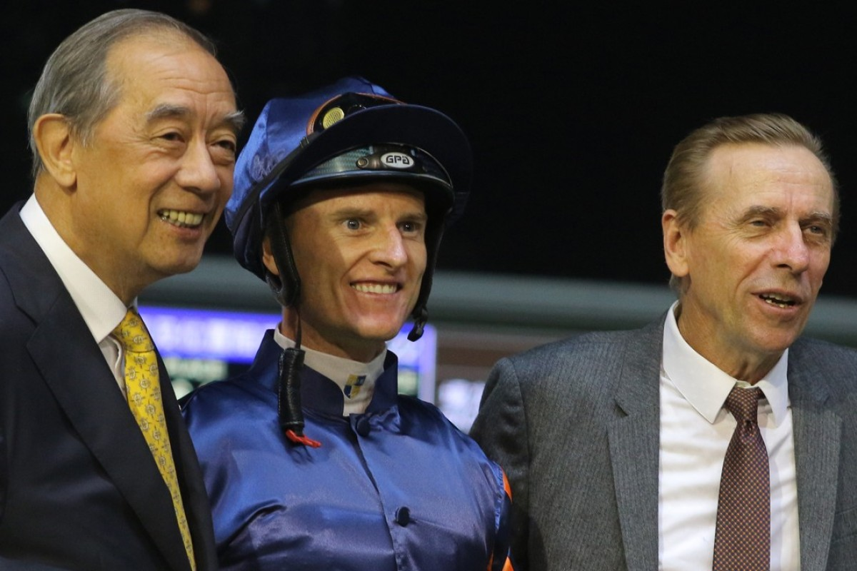 Ronald Arculli (left) with jockey Zac Purton and trainer John Size. Photos: Kenneth Chan