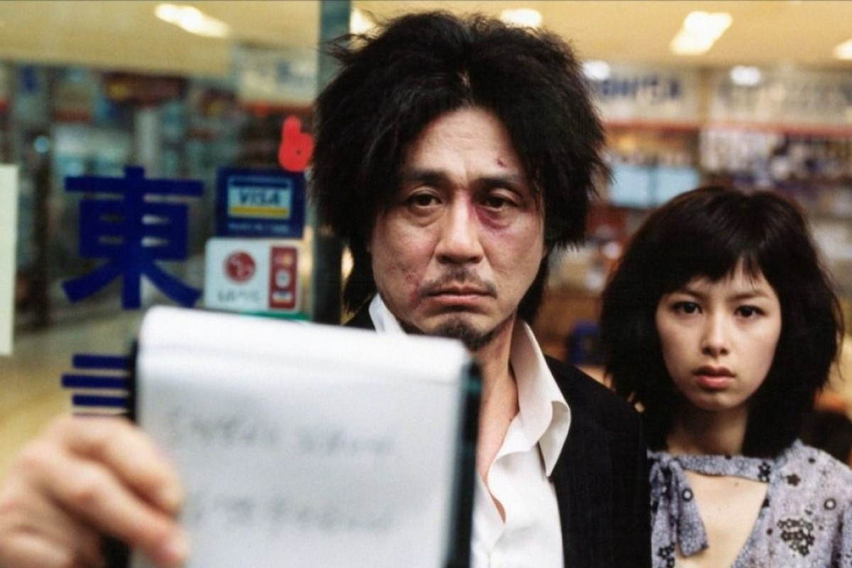 Choi Min-sik (left) and Kang Hye-jeong in Oldboy.
