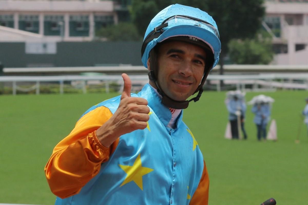 Joao Moreira celebrates a winner. Photos: Kenneth Chan