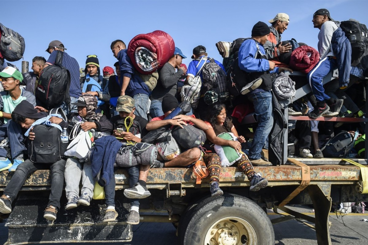 Central American migrants – mostly Honduran – in a caravan heading to the United States on November 11. Picture: AFP