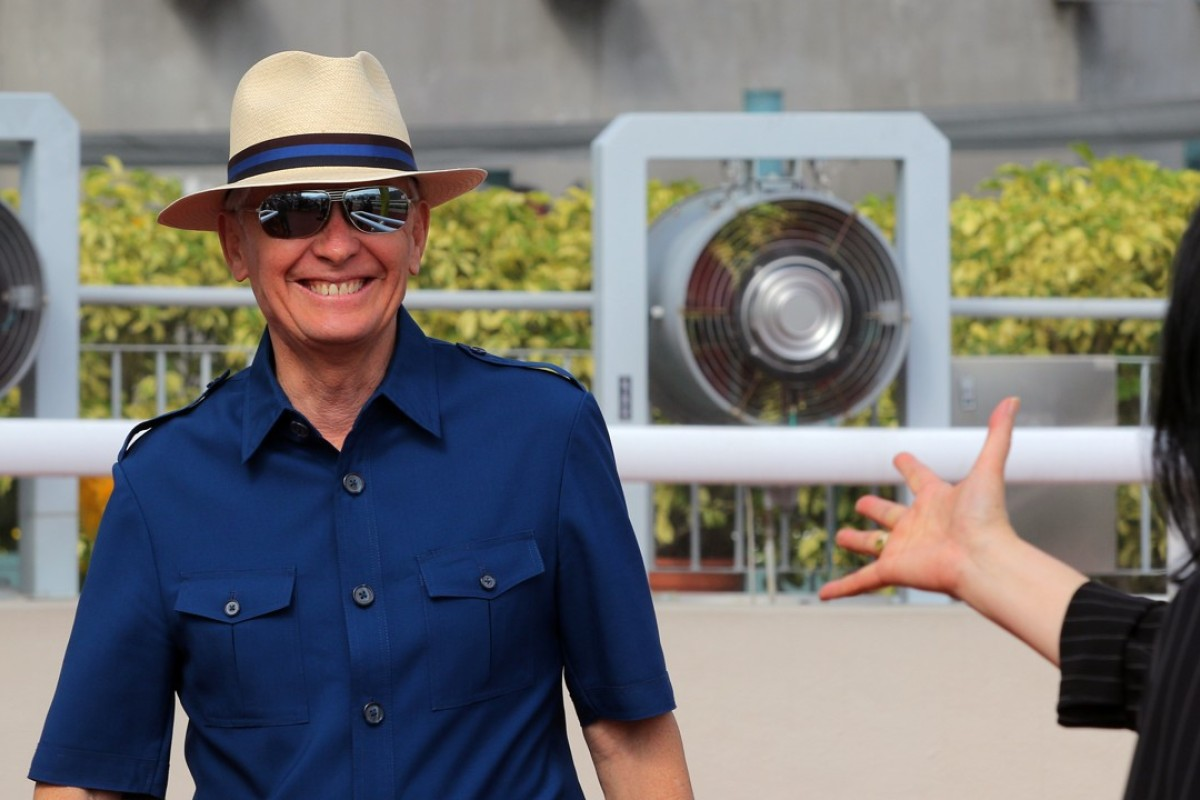 Trainer John Moore in the Sha Tin winner's circle after his horse Just Not Listening won earlier this season. Photos: Kenneth Chan