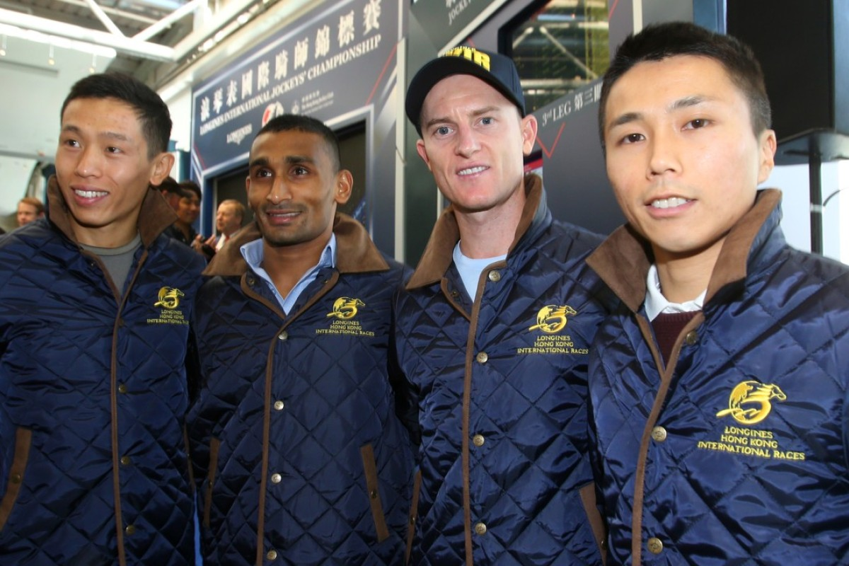 Hong Kong's four representatives in the Longines International Jockeys' Championship (from left) Vincent Ho, Karis Teetan, Zac Purton and Matthew Poon. Photo: Kenneth Chan