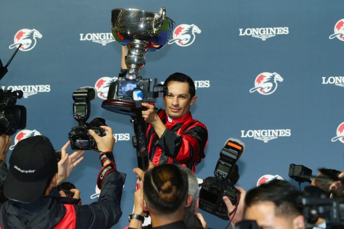 Silvestre de Sousa poses with the Longines International Jockeys' Championship trophy. Photos: Kenneth Chan