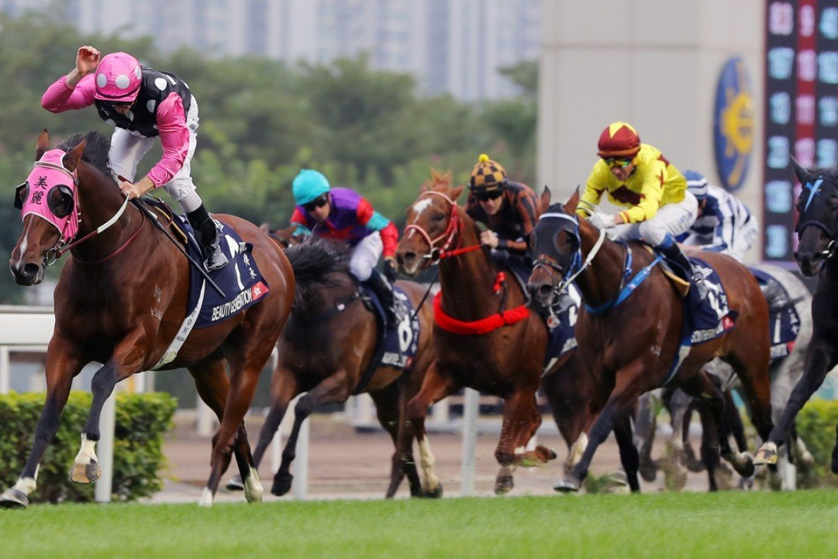 Zac Purton has time to give Beauty Generation a pat at the finish of the Longines Hong Kong Mile. Photos: Kenneth Chan
