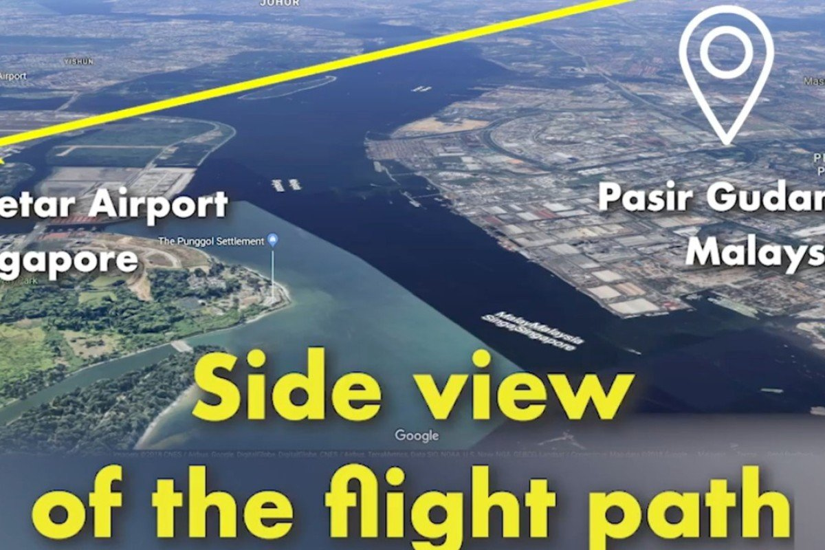 A still from the Malaysian Transport Ministry's video showing a flight path to Singapore's Seletar Airport over Malaysian airspace. Photo: Facebook