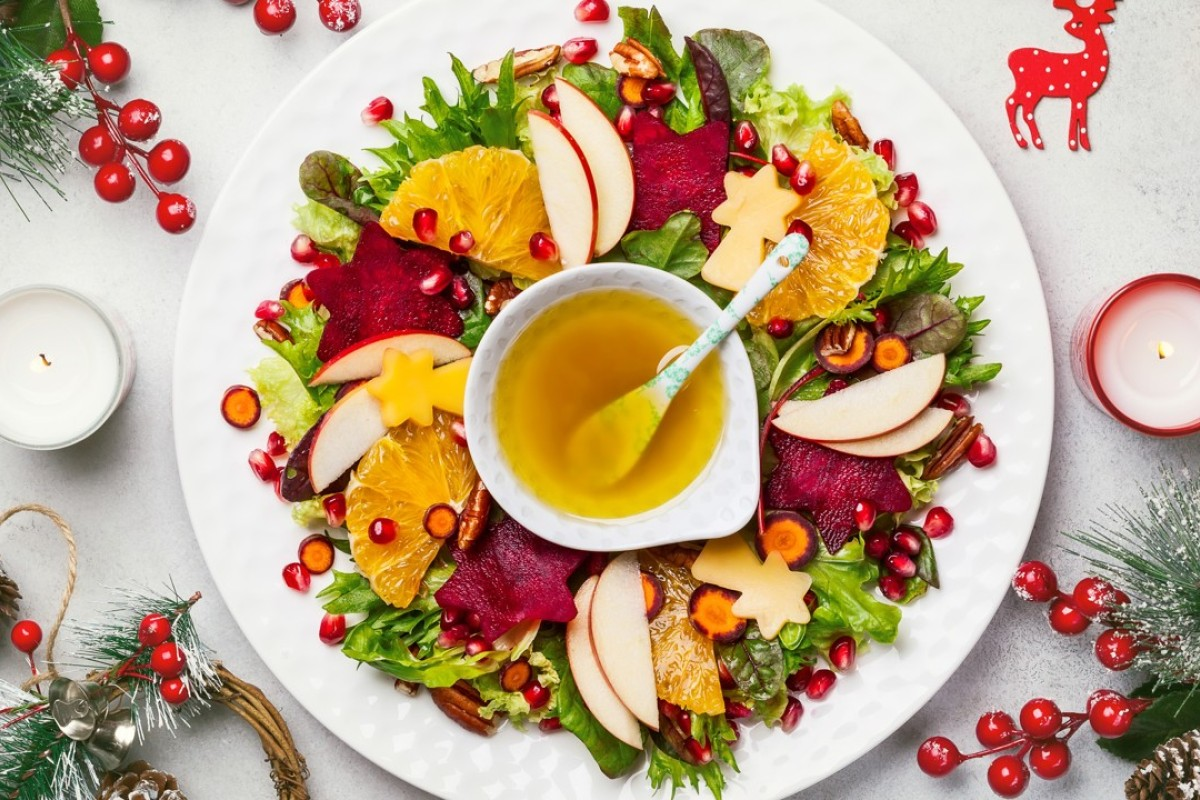 Christmas Day lunch need not be boring for vegans who shun roast turkey, thanks to delicious alternatives such as Christmas wreath salad with beetroot, apple, oranges and mustard sauce.