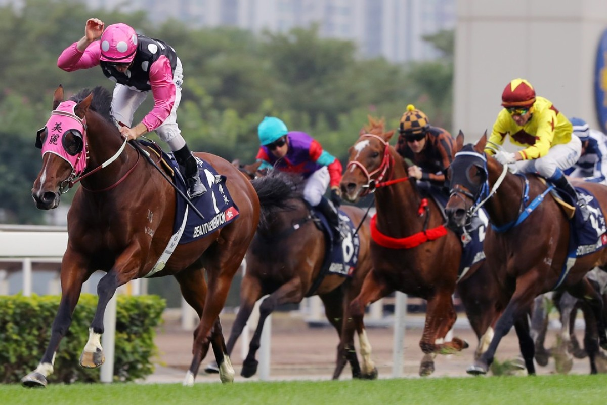 Zac Purton gives Beauty Generation a pat as he careers away with the Hong Kong Mile. Photos: Kenneth Chan