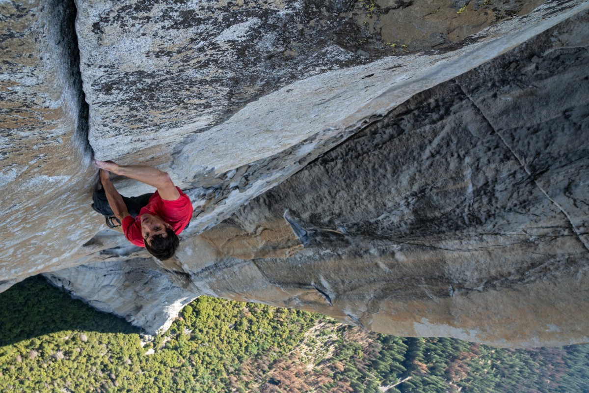 Alex Honnold making the first free solo ascent of El Capitan's Freerider in Yosemite National Park. Photo: Jimmy Chin