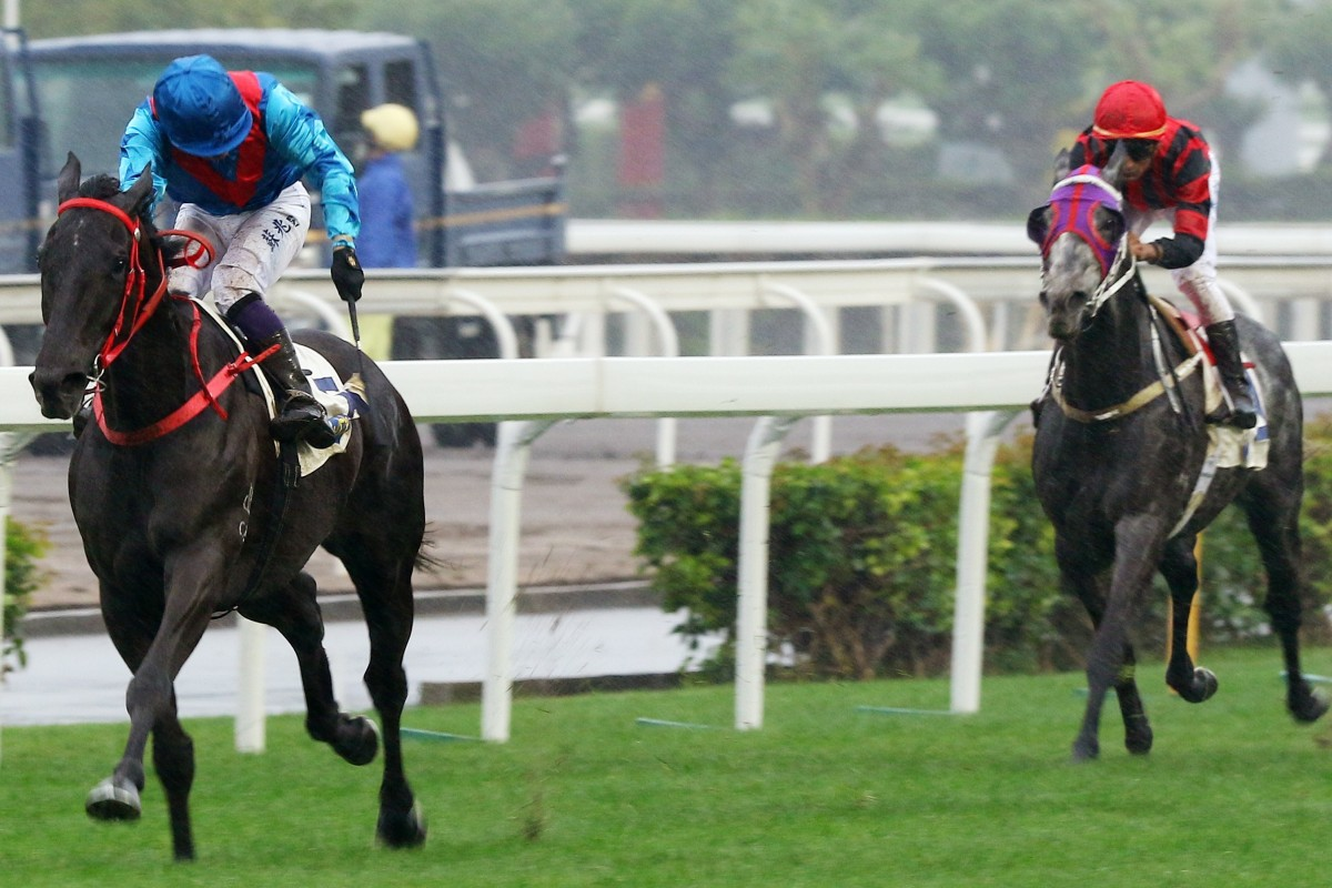 Dark Dream streaks away from his rivals at Sha Tin on Sunday. Photos: Kenneth Chan