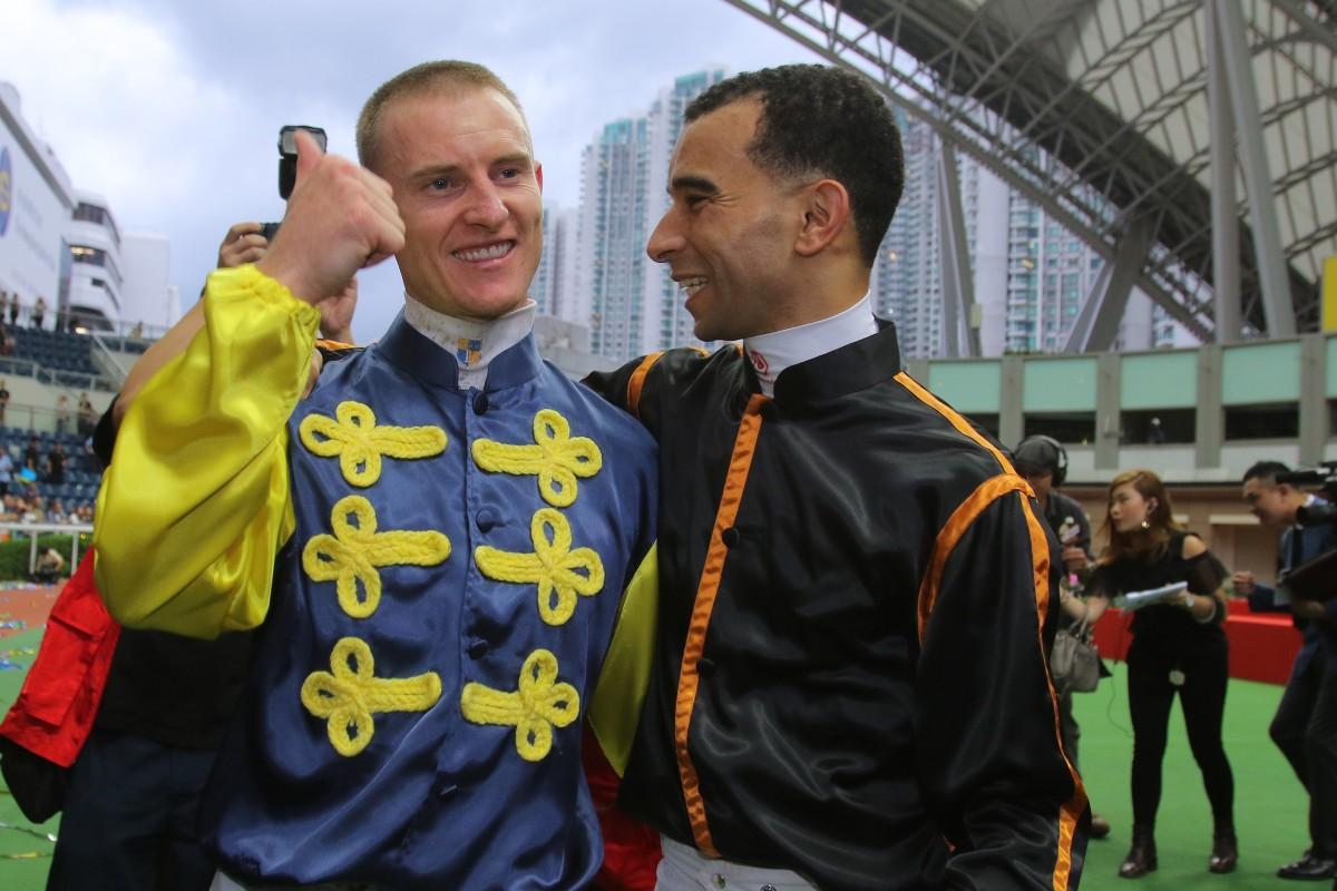 Jockeys Zac Purton and Joao Moreira. Photos: Kenneth Chan