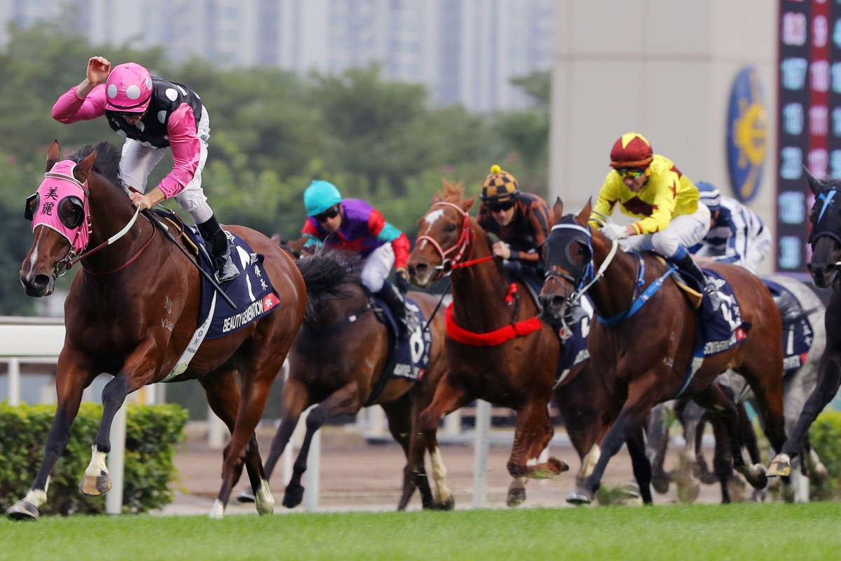 Beauty Generation cruises to victory in the Group One Longines Hong Kong Mile. Photos: Kenneth Chan