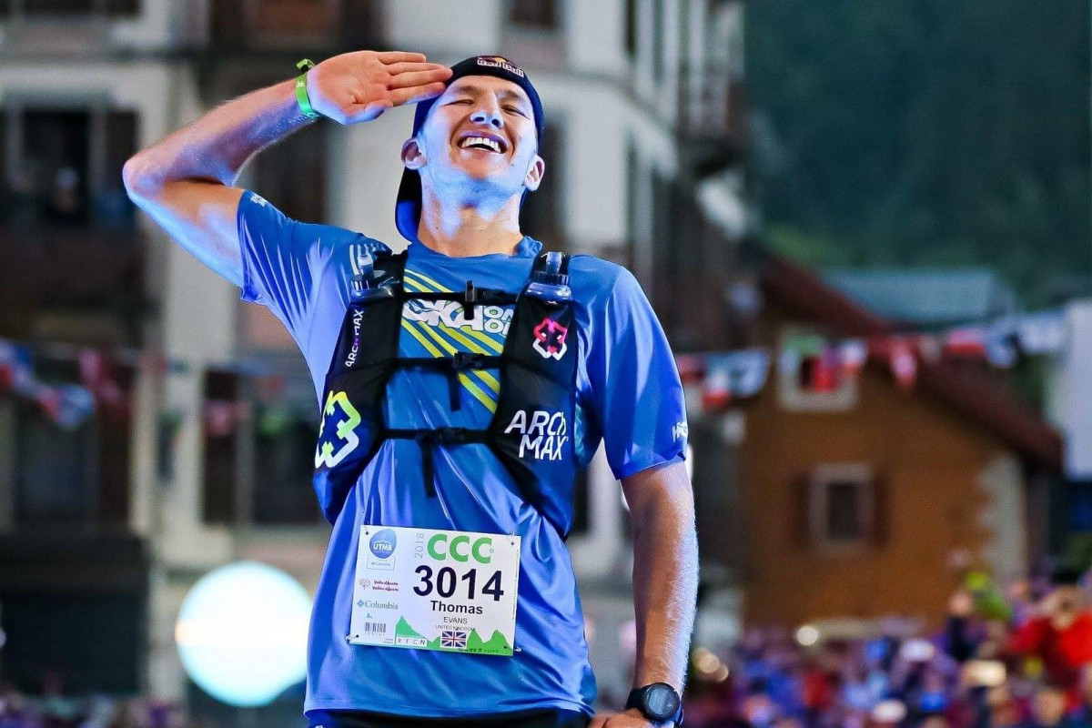 Tom Evans, a British army officer, crosses the finish line in first place at the CCC. Evans beat last year's HK100 winner Qi Min by overtaking him in the last 6 kilometres. Photo: UTMB