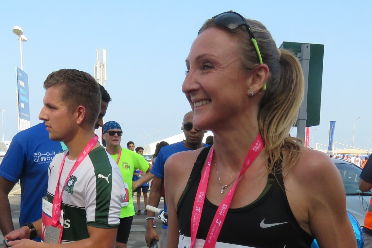 Paula Radcliffe at the Muscat Marathon, where she ran the 10km, spoke at the ceremony and posed for selfies. Photo: Pavel Toropov