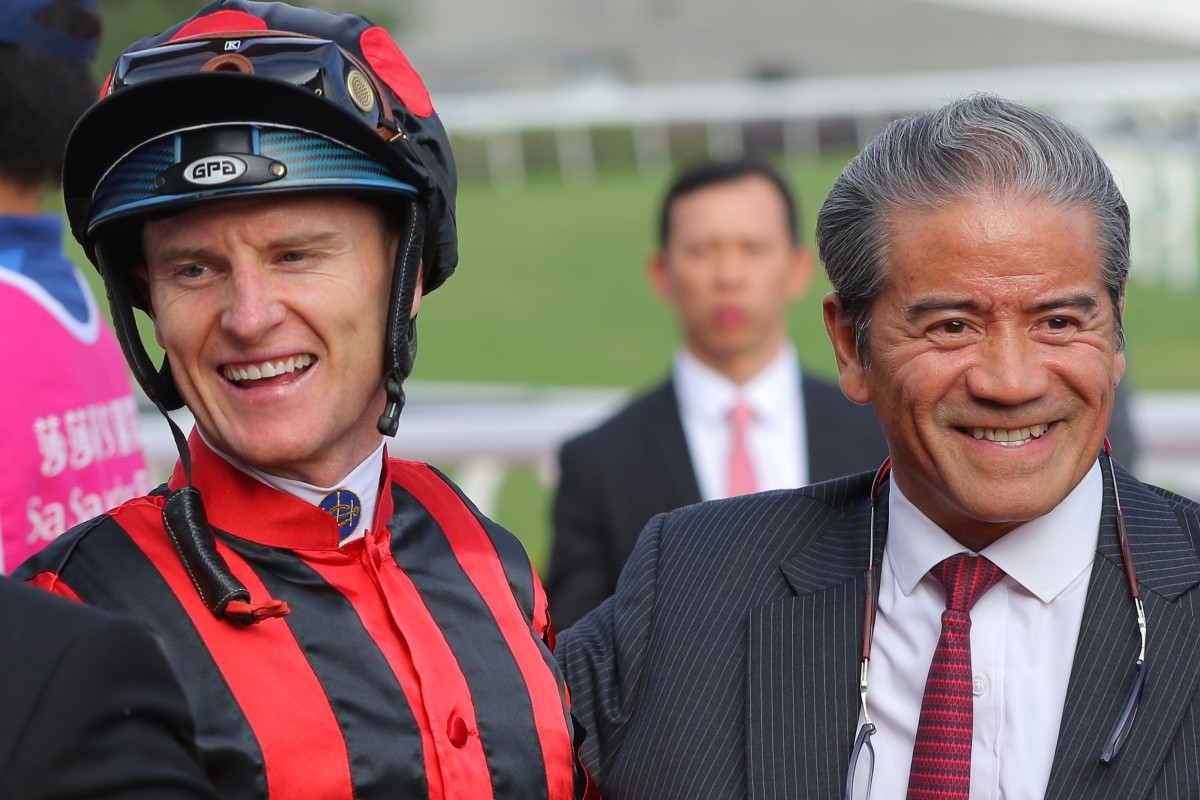 Zac Purton and trainer Tony Cruz share a laugh after Time Warp's victory over Glorious Forever earlier this season. Photos: Kenneth Chan