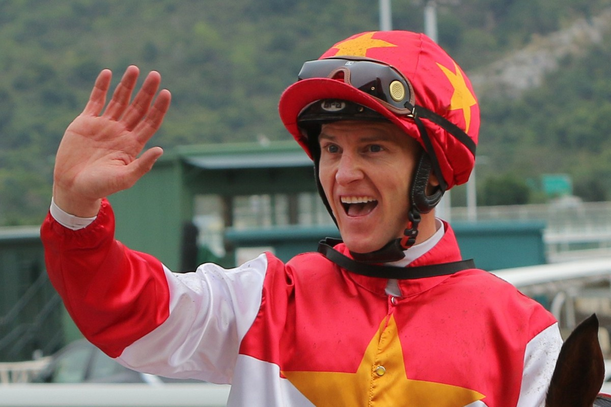 Zac Purton celebrates one of his winners on Sunday. Photos: Kenneth Chan