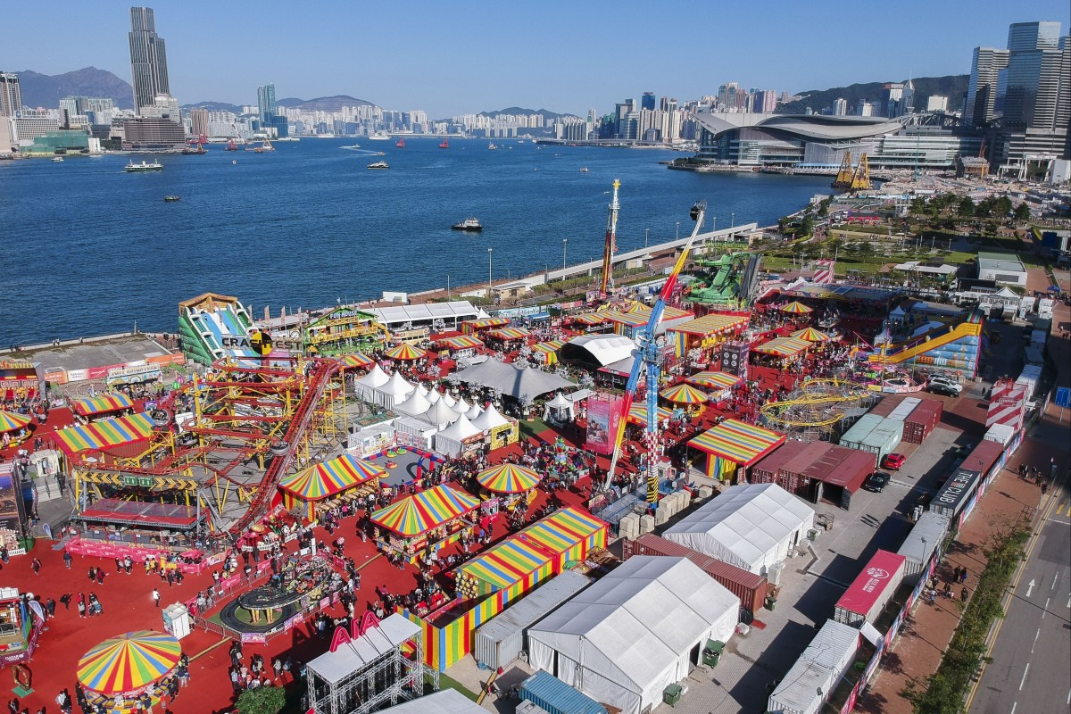 "Drone aerial view of the AIA ""The Great European Carnival"" in Central Harbourfront. Photo: SCMP / Roy Issa"
