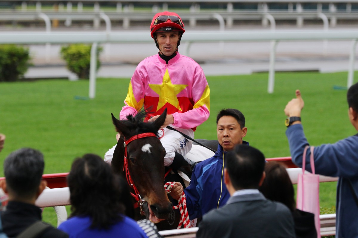 Tye Angland returns to scale after winning aboard Follow Me in November. Photos: Kenneth Chan