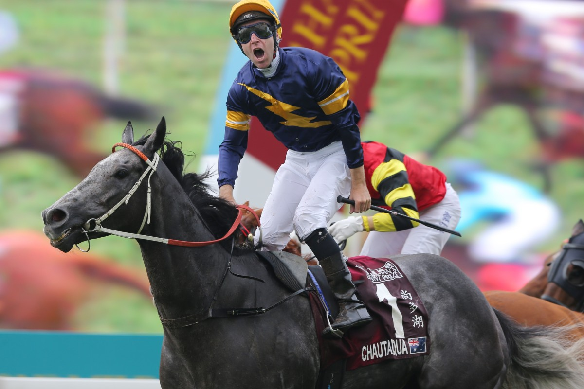 Chautauqua - the last Australian horse to win on Champions Day – wins the Group One Chairman's Sprint Prize in 2016. Photos: Kenneth Chan