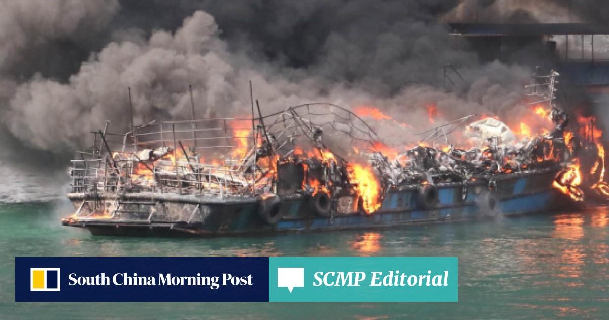 Five injured as fire sweeps through boats at Hong Kong's